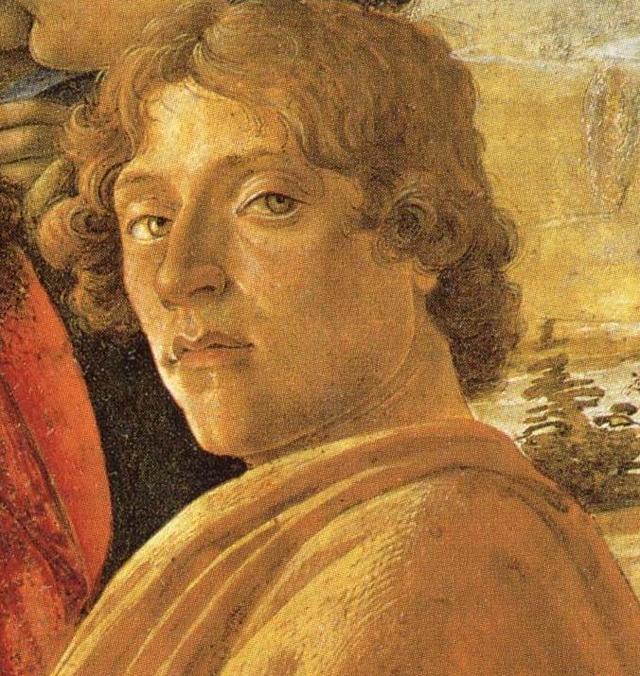 """Detalhe de seu autorretrato na obra """"A adoração dos Magos"""" (1475), Galleria degli Uffizi, Florença. """"Se Botticelli fosse vivo hoje, estaria trabalhando para a revista Vogue"""". Peter Ustinov"""