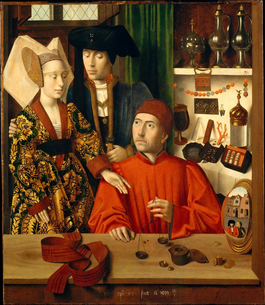 Santo Elígio (Elói), padroeiro dos ferreiros, dos ourives e dos que trabalham com metal, em sua oficina, por Petrus Christi (1449). Metropolitam Museum of Art.