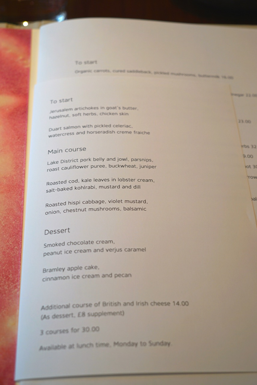 O menu de almoço