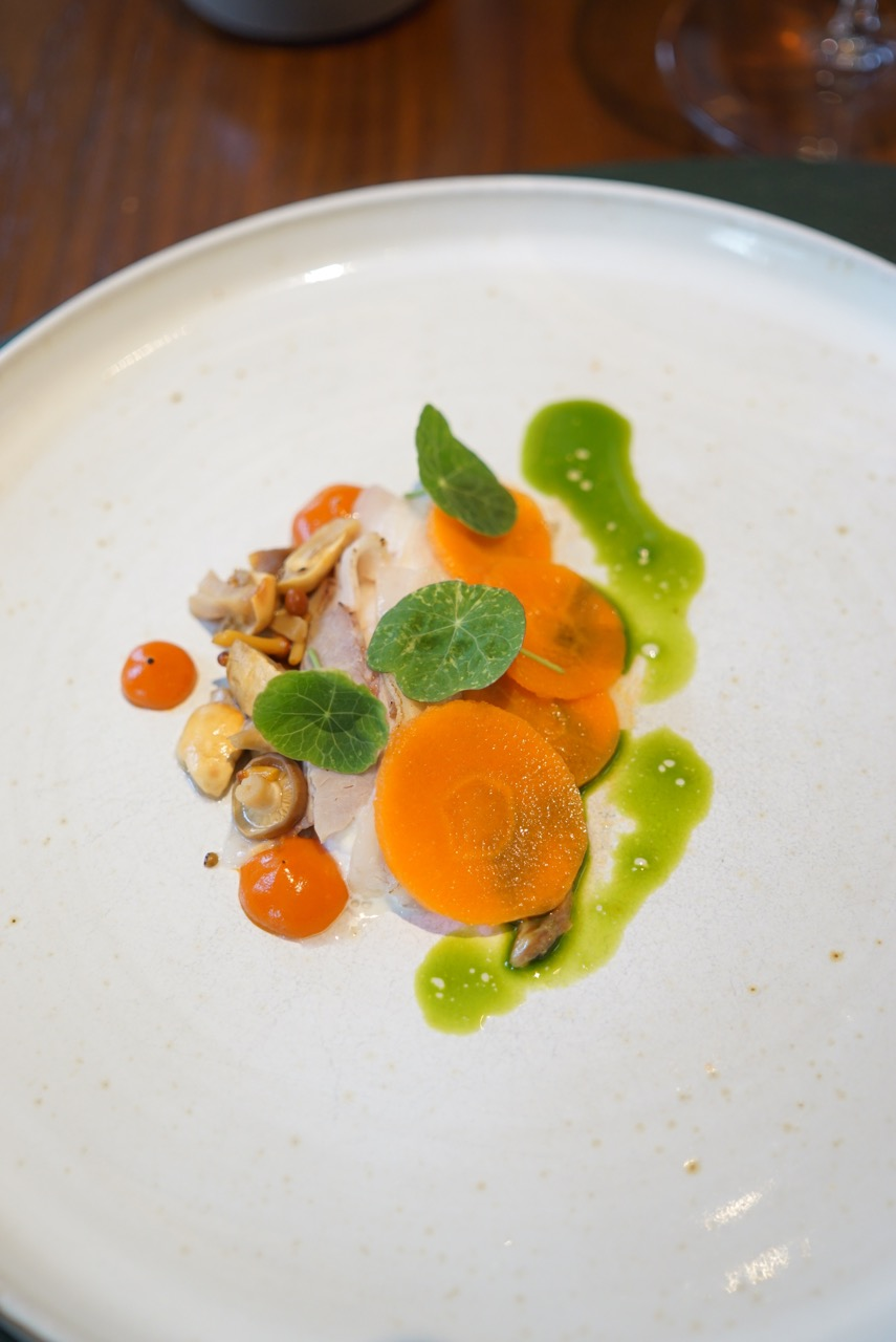 Organic carrot, cured saddleback, pickled mushrooms and buttermilk