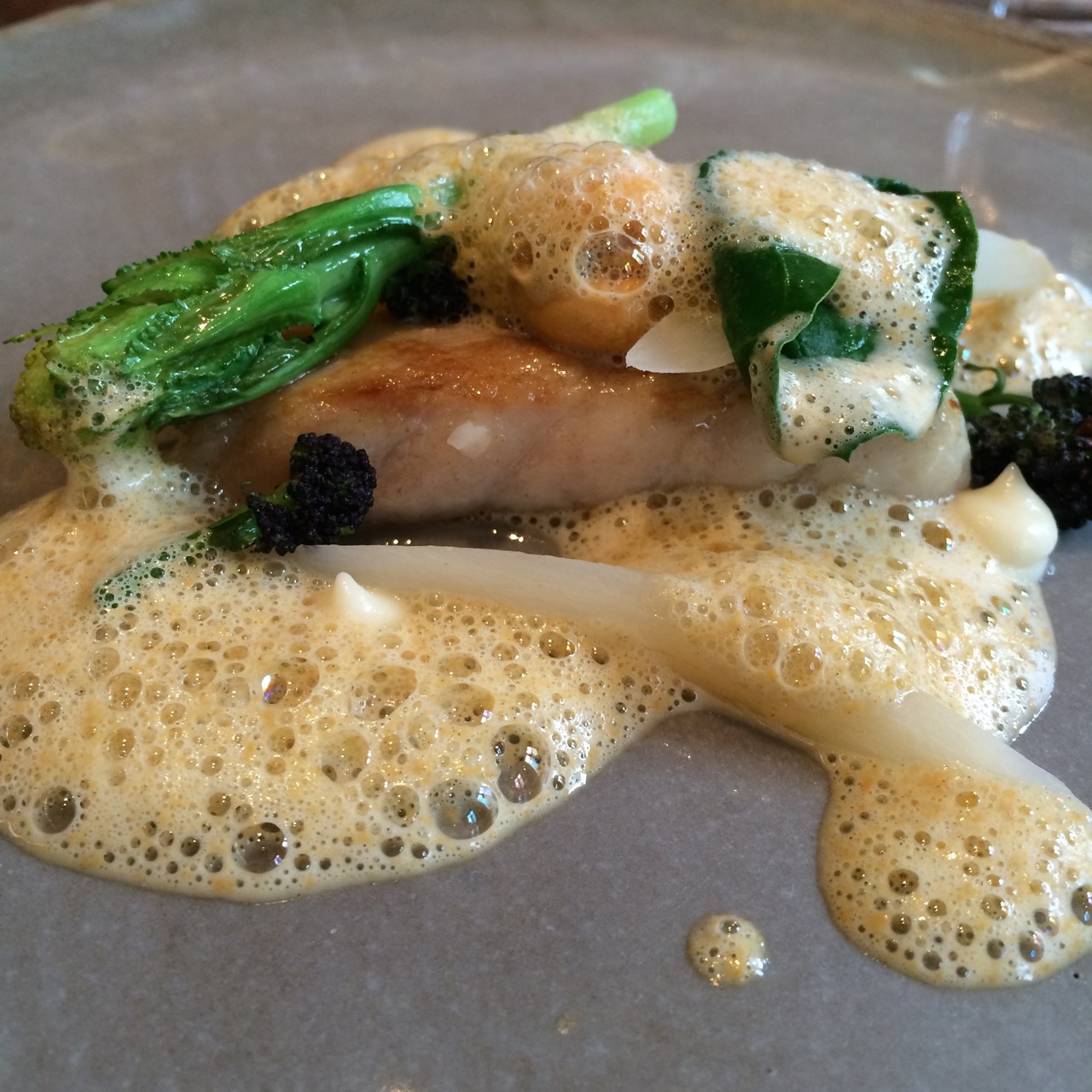 Sea bass in brown butter, mussel, salsify and sea herbs
