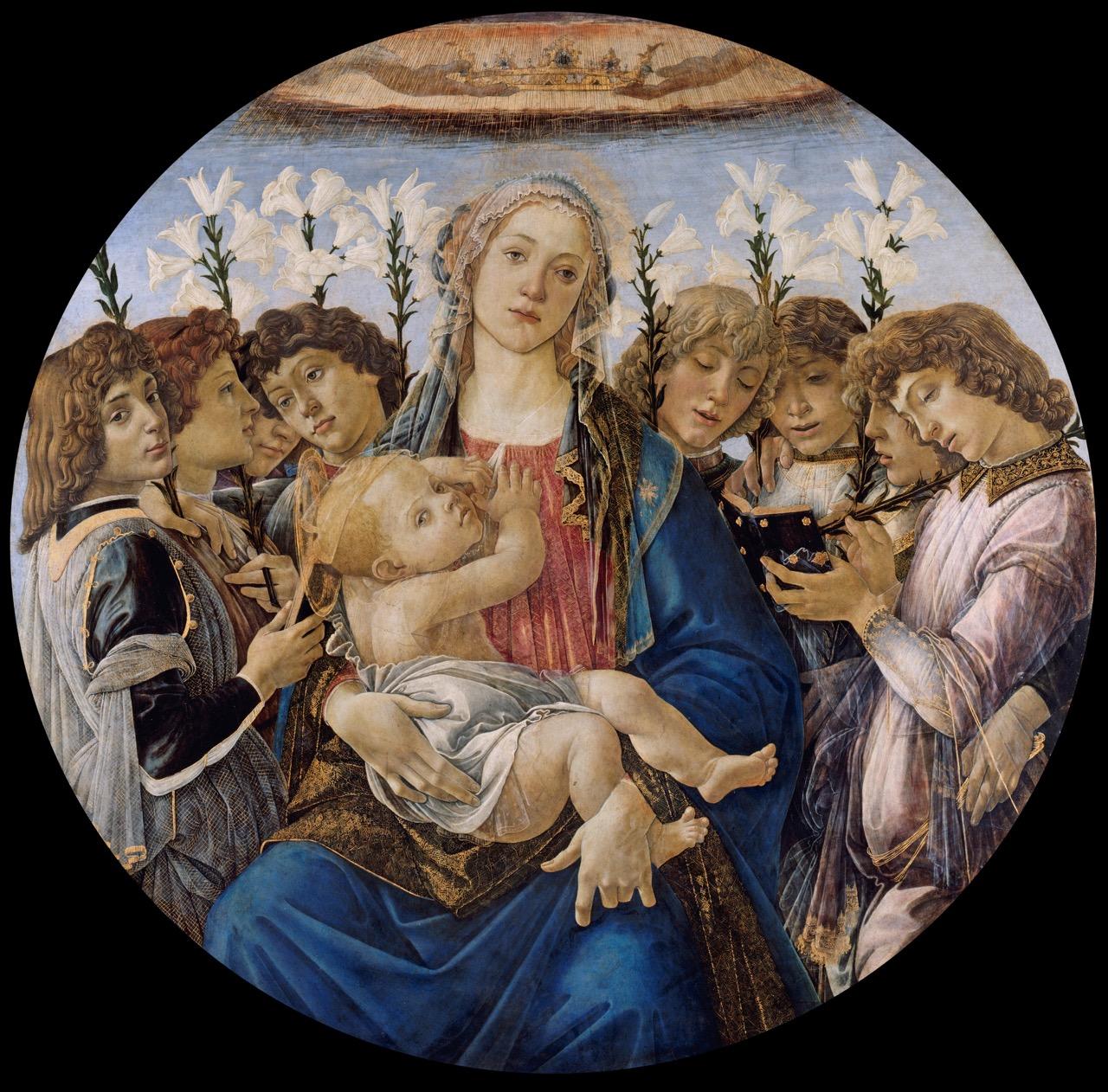 Madonna com o menino e coro de oito meninos, de Sandro Botticelli (1478). Staalich Mussen, Berlin.