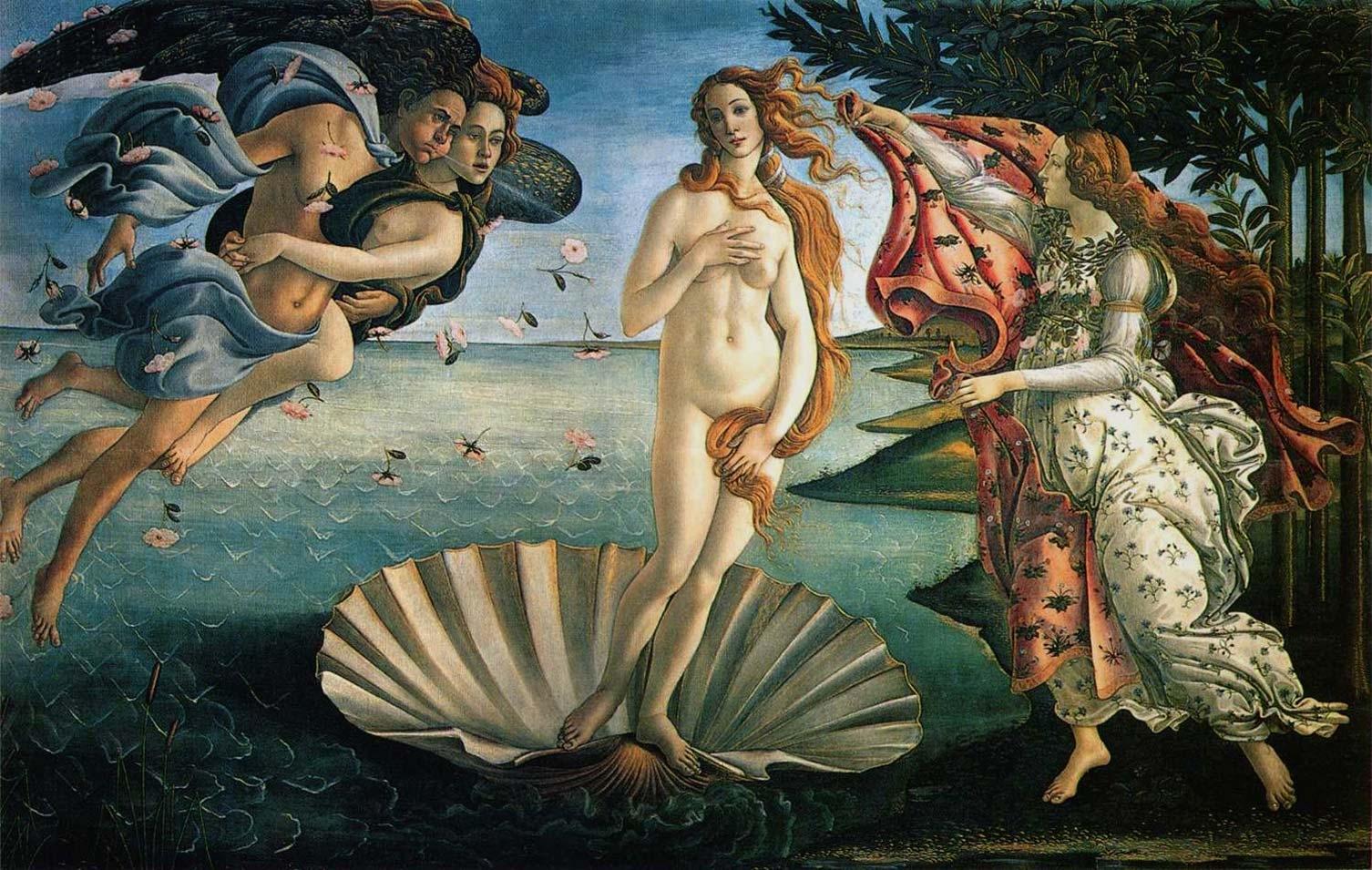 """""""O nascimento de Vênus"""", de Sandro Botticelli (1483). Galleria degli Uffizi, Firenze. Segundo relatos, Vênus surgiu em Páfos, na Ilha de Chipre. Outros dizem que ela pousou em Cítera, próximo à costa sul da Grécia. Ambas as ilhas foram dedicadas a seu culto."""