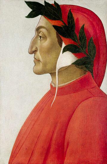 """Perfil do poeta Dante Alighieri, por Sandro Botticelli (1495). Conhecido como """"il sommo poeta"""", o autor da """"A Divina Comédia"""" nasceu em Florença, por volta de 1265 e faleceu de malária, em 1321."""