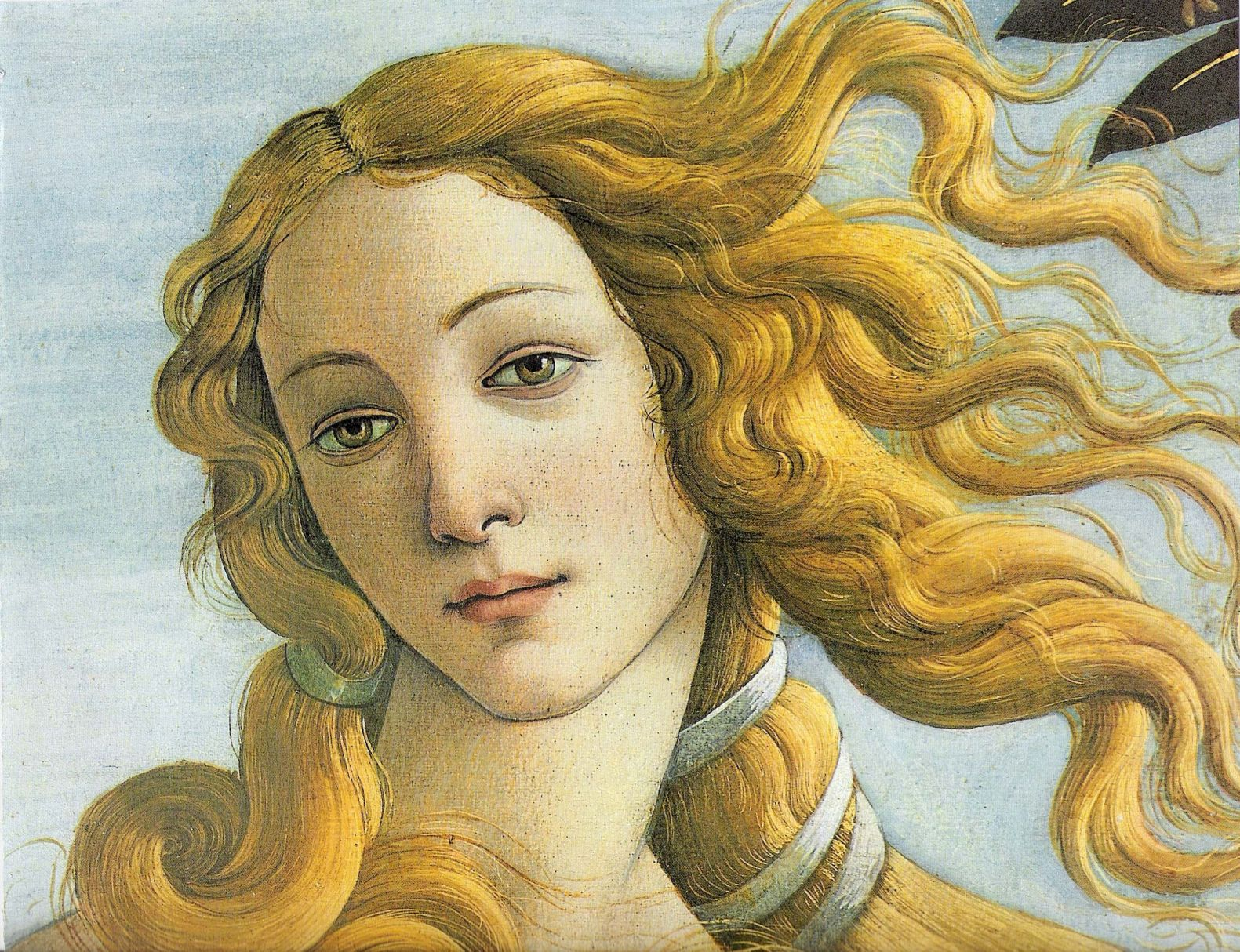 Detalhe do rosto de Vênus, cujos traços, segundo os estudiosos, também foi inspirado na mais bela donzela florentina, Simonetta Vespucci.