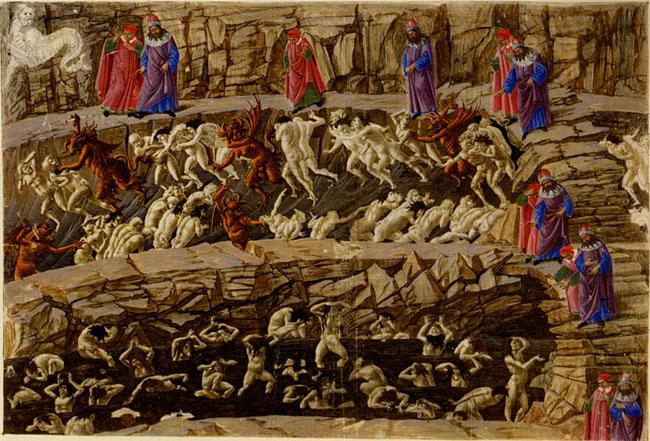 Trecho da ilustração sobre o inferno, na Divina Comédia, por Botticelli.