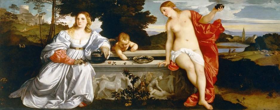 """Amor Sagrado e Amor Profano"" (1514/15), por Ticiano Vecellio. A obra foi encomendada por Niccolò Aurélio e pertence à Galeria Borghese."