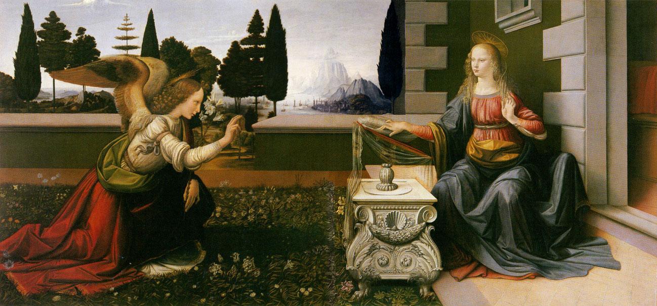 """""""Anunciação"""", de Leonardo Da Vinci (óleo sobre madeira, 1472-1475). Galleria degli Uffizi, Florença. Para ele, """"A pintura é poesia muda; a poesia, pintura cega"""". Sobre Leonardo, o arquiteto e biógrafo Giogio Vasari afirmou que """"De tempos em tempos, o Céu nos envia alguém que não é apenas humano, mas também divino, de modo que através de seu espírito e da superioridade de sua inteligência, possamos atingir o Céu""""."""
