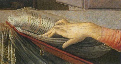 Anunciação detalhe mãos de Maria