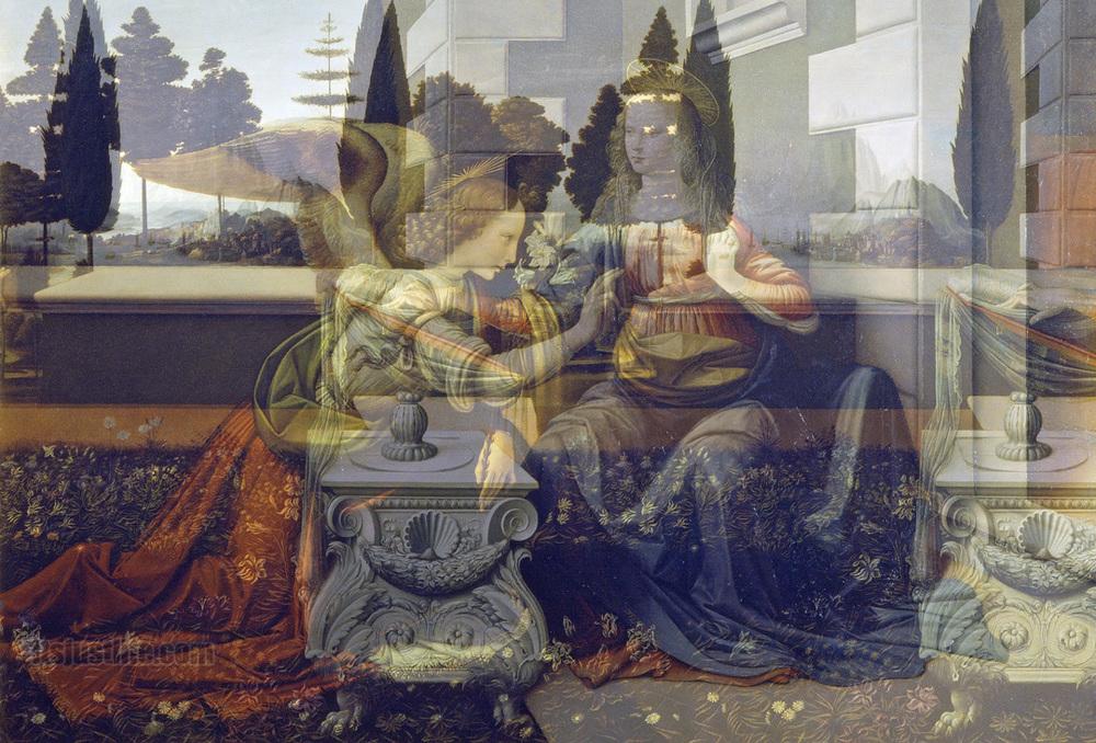 Anunciação anjo e seio de Maria