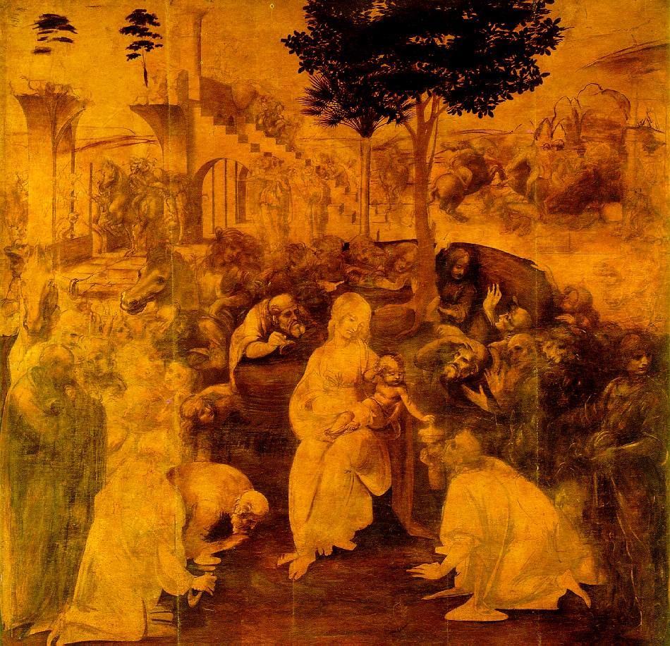 """""""Adoração dos Magos"""" (1481), de Leonardo Da Vinci. Galleria degli Uffizi, Florença. É dele a frase: """"Como a um dia luminoso segue-se uma noite estrelada, assim a uma vida bem vivida sucede uma morte serena"""". Para Leonardo, a ternura maternal era a essência da feminilidade."""