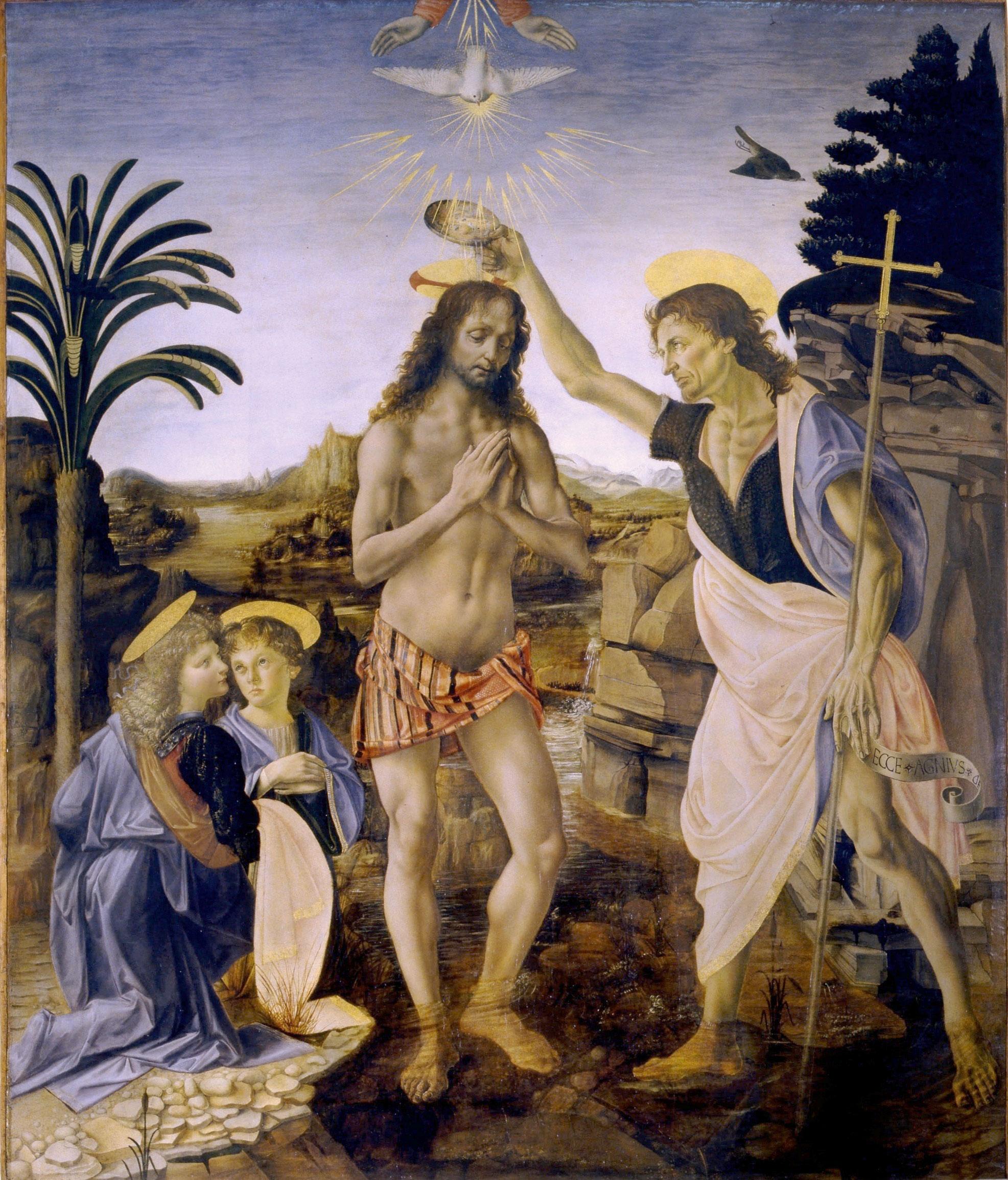 """""""O batismo de Cristo"""" (1474/75), de Verrochio e Leonardo Da Vinci. Galleria degli Uffizi, Florença."""