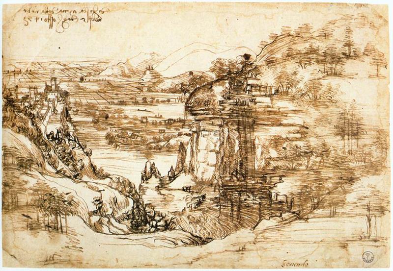 """""""Paisagem do Arno"""" (1473), de Leonardo da Vinci. Galleria degli Uffizi, Florença. Essa obra é considerada a primeira paisagem autônoma da história da arte: um croqui que retratava um vale cercado de colinas, pelo qual corria um rio, provavelmente o Arno, que cortava Florença."""