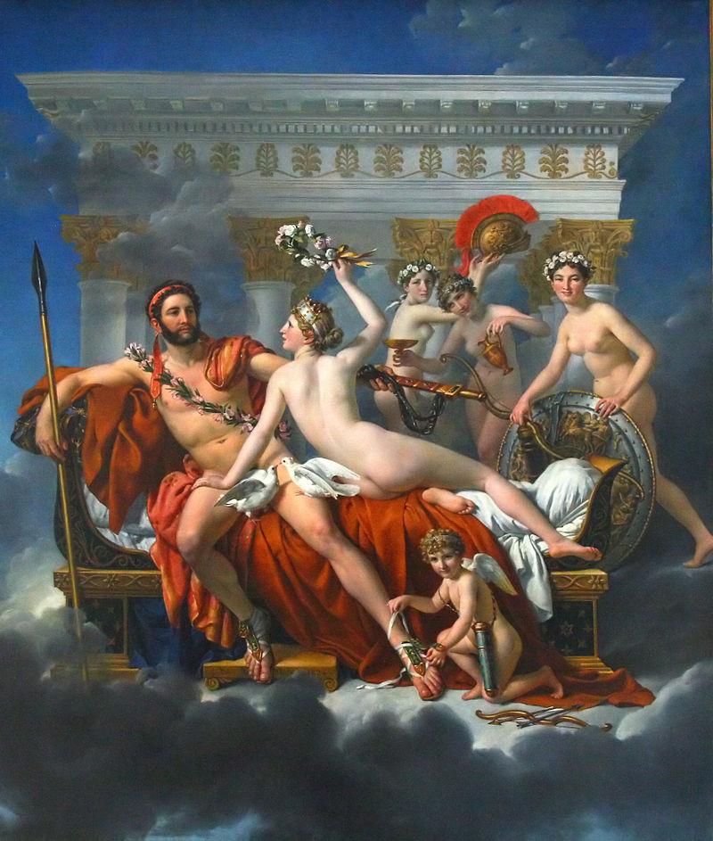 Marte desarmado por Vênus e as três Graças (1824). Essa foi a última obra de Jacques-Louis David. Museu Real de Belas Artes de Bruxelas, Bélgica.