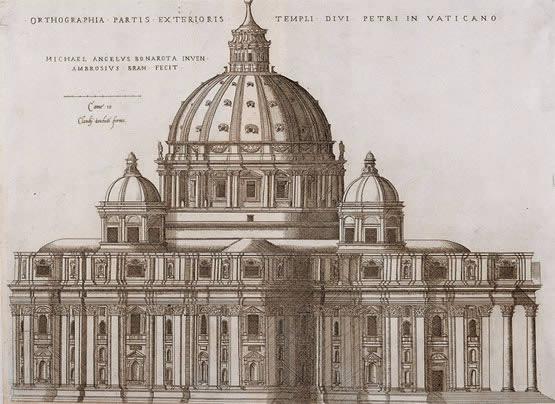 Cúpula da Basílica de São Pedro, Roma. Na arquitetura, sua principal obra foi a Basílica de São Pedro, cuja cúpula representava o poder da Igreja no mundo, mas infelizmente não foi concluída antes de sua morte.