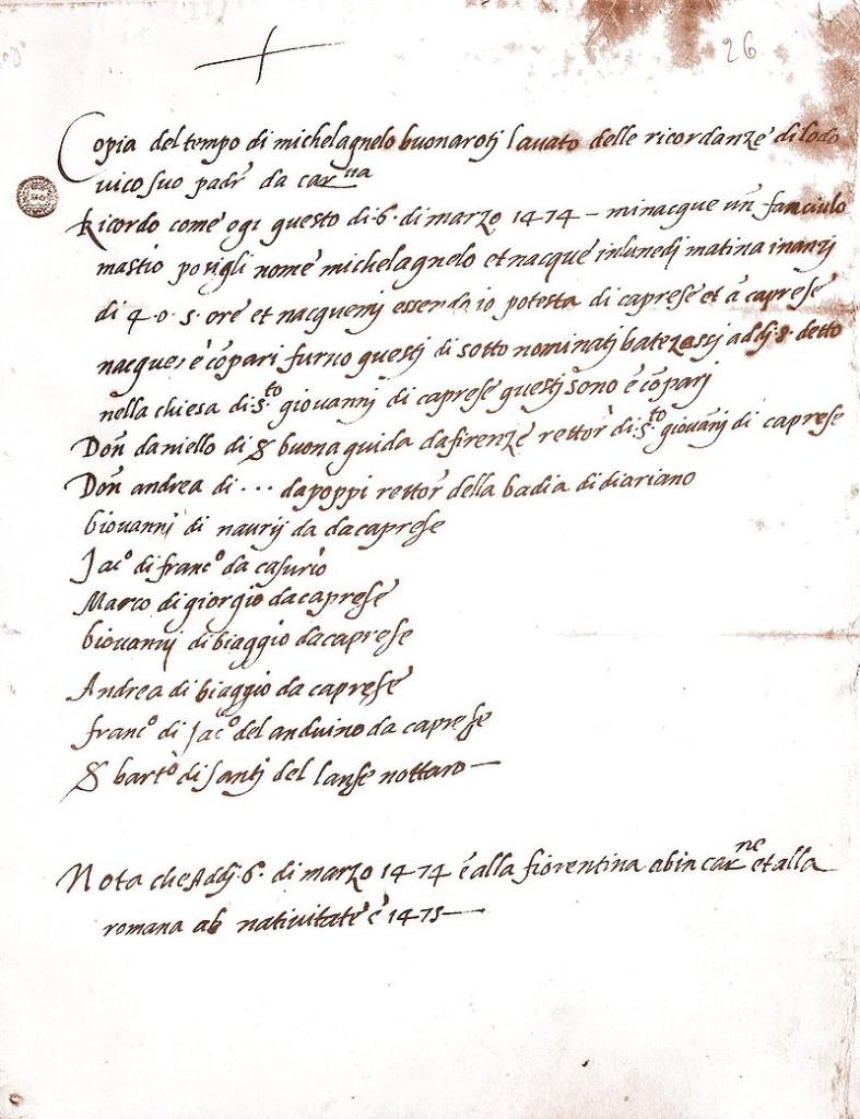 O pisciano nasceu em Caprese em 6 de março de 1475. Certidão de Nascimento de Michelangelo. Casa Buonarroti, Florença.