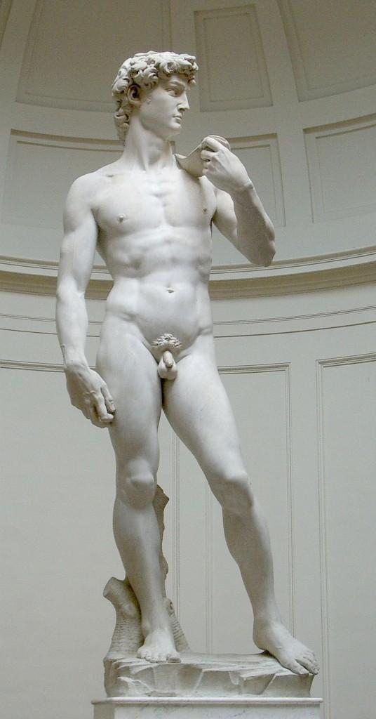 Davi jovem. Inspirado no semideus Hércules (Heracles), Davi impressiona pela dimensão e pelo realismo de seu corpo que traz detalhes dos músculos, veias, cabelos e unhas saltando aos olhos. Encomendado em 1501 e terminado em apenas dois anos.