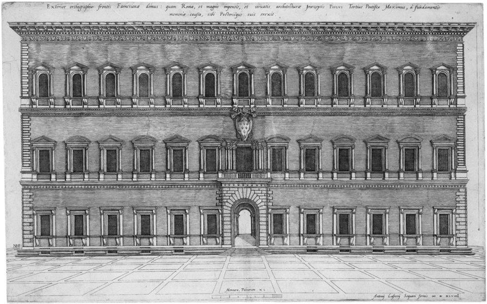 cornija do Palácio Farnese. Campo di Fiore, Roma. É também de Michelangelo a cornija do Palazzo Farnese, no Campo di Fiore, Roma.