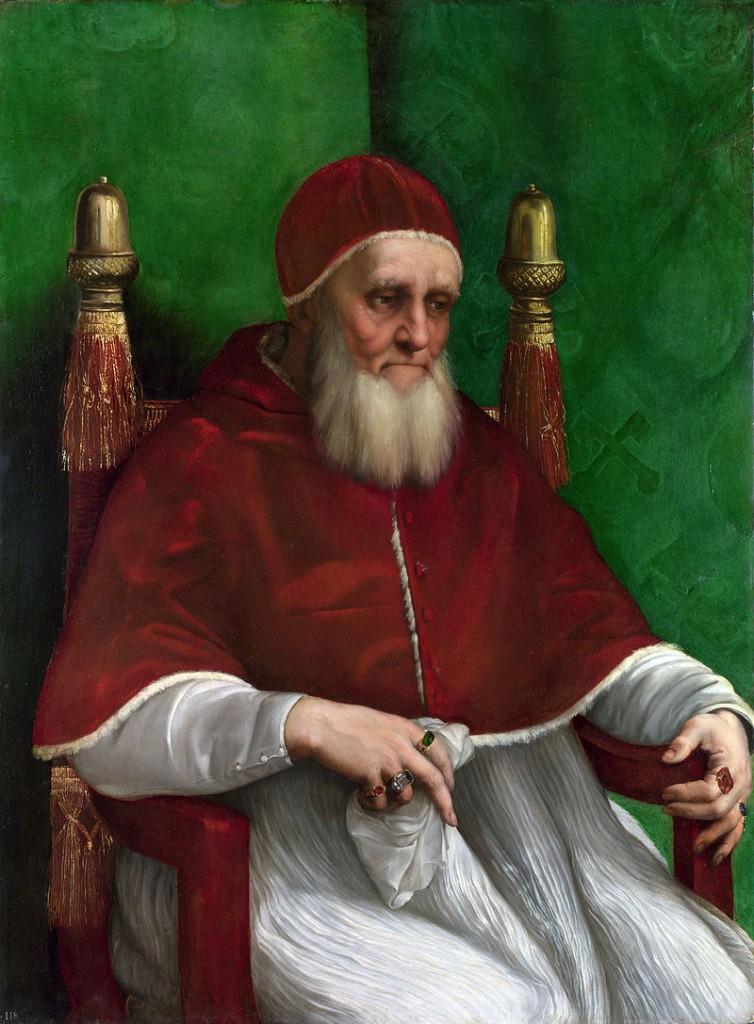 Retrato do papa Júlio II (1511/12) por Rafael Sanzio (o maior e mais ambicioso dos papas do Renascimento). National Gallery, Londres.