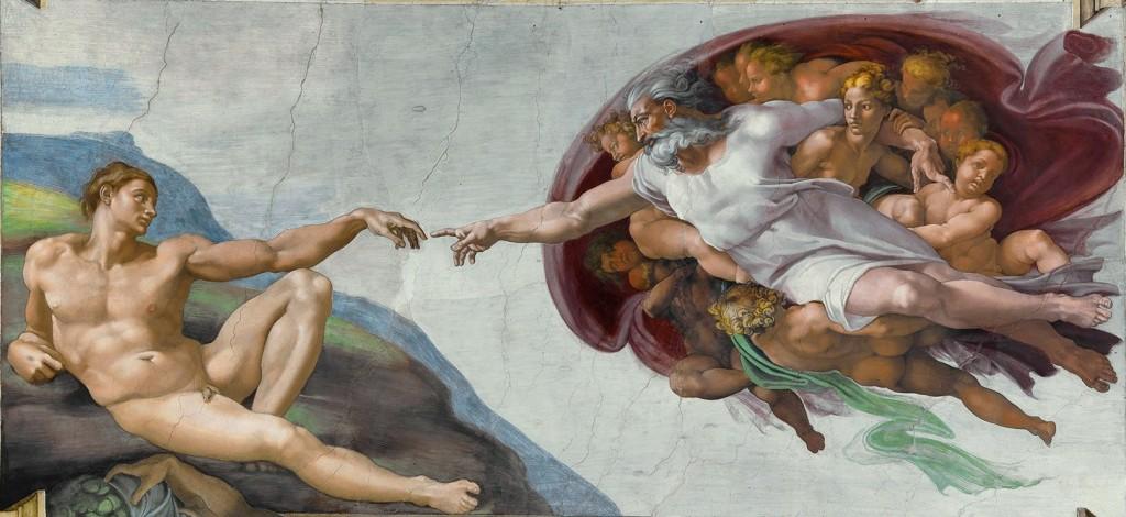 """A criação do Homem, por Michelangelo Buonarroti (1512). Capela Sistina, Vaticano. Roma. """"Seus trabalhos o colocaram em um alto pedestal, o que o levou à visão do poder do artista como criador. Não foi à toa que ele, ainda em vida, foi chamado de 'o Divino' """". Giorgio Vasari."""