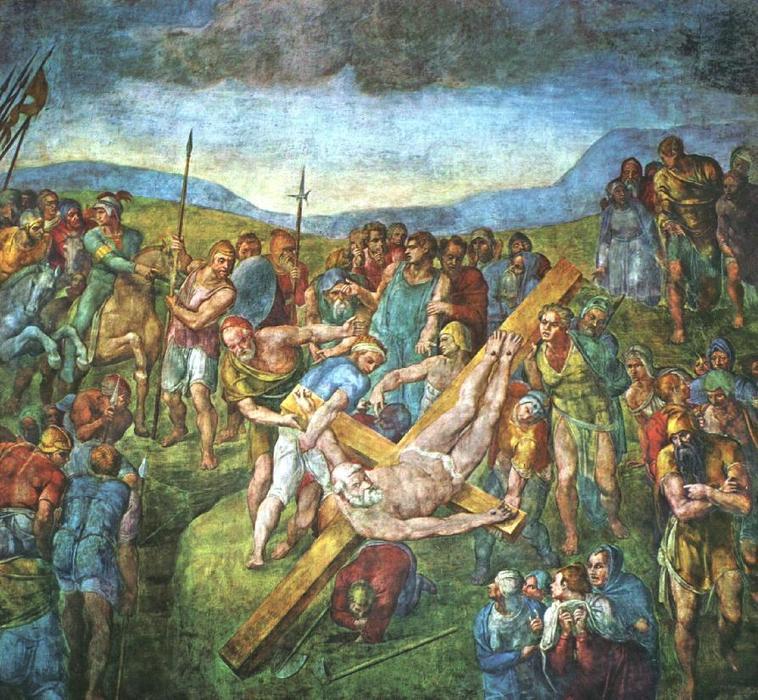 Crucificação de São Pedro (1545-50), em que Cristo lhe dá as chaves. Capela Paolina, Vaticano, Roma.