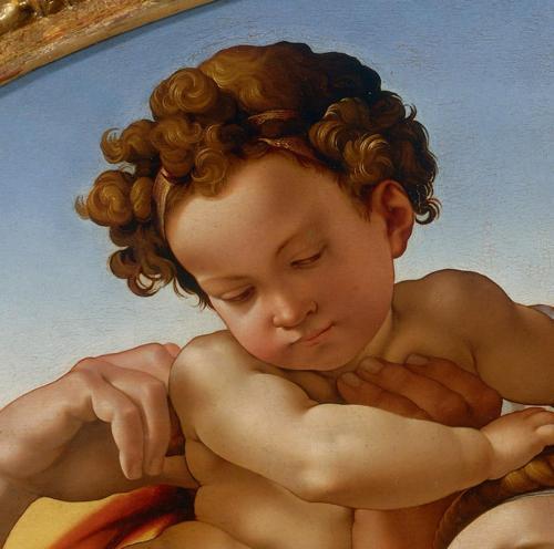 Tondo Doni detalhe Jesus. Galleria degli Uffizi, Firenze.