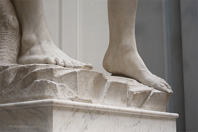 Davi detalhe pingolim. Colocado na Piazza della Signorina, em frente ao palazzo Vecchio, em 8 de setembro de 1504. Para isso alteraram a lei, que proibia estátuas nuas em locais públicos.