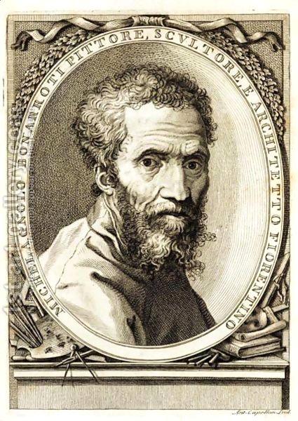 Michelangelo Buonarroti em bico de pena num medalhão.
