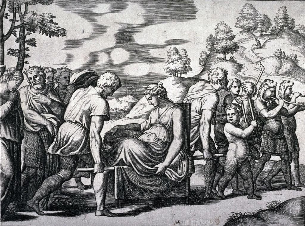 5- A jovem sendo levada, por Bernardo Daddi (bico de pena) e por...