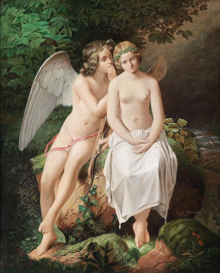 Entristecida, Psyché implora a Eros que a deixe rever suas irmãs, por Eduard Steinbruck.