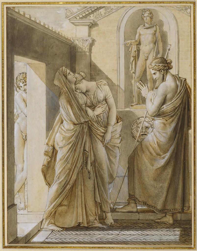 3- Os pais de Psyché vão consultar o Oráculo de Apolo e, escondido, Eros se faz passar por adivinho, por François Pascal Simon Gerard.
