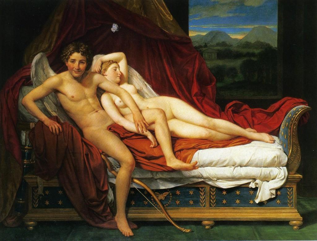 Eros tem uma inesquecível noite de amor com Psyché, embora ele não permita que ela o veja, por Jacques Louis David