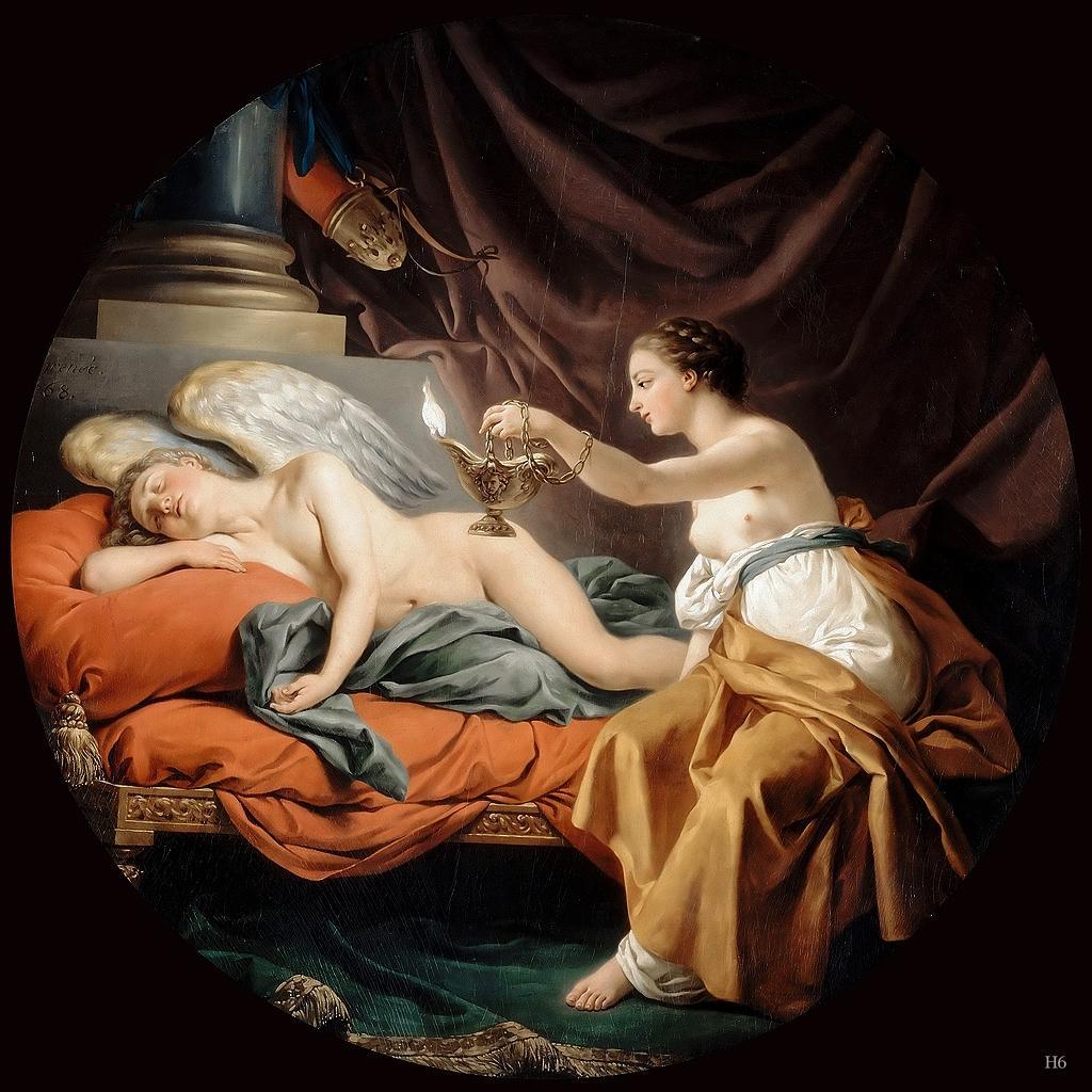Desconfiada, Psyché segue a orientação das suas irmãs e após Eros adormecer, acende uma vela para flagrá-lo, por Jean François Lagrenee
