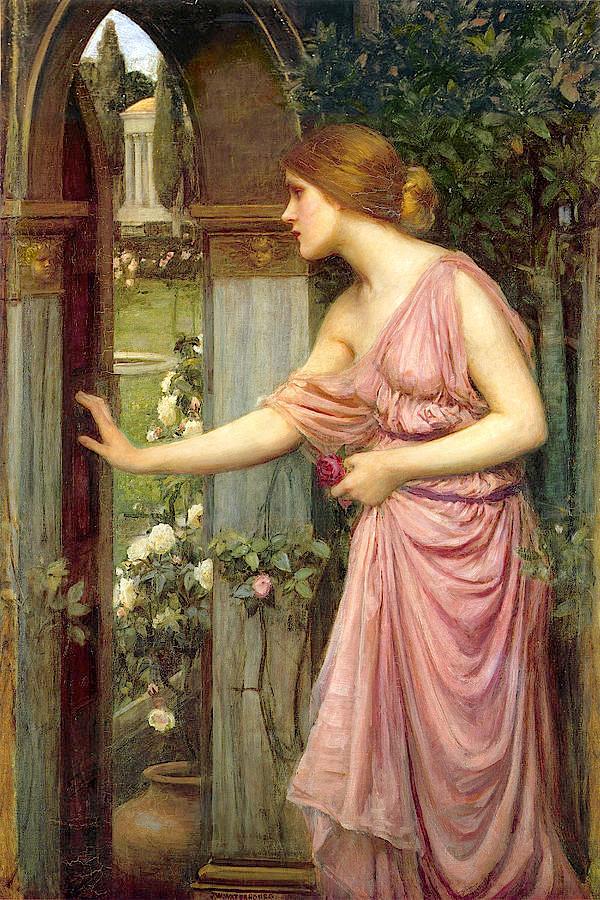 Psyché adentra timidamente ao jardim do palácio de Eros, por John William Waterhouse