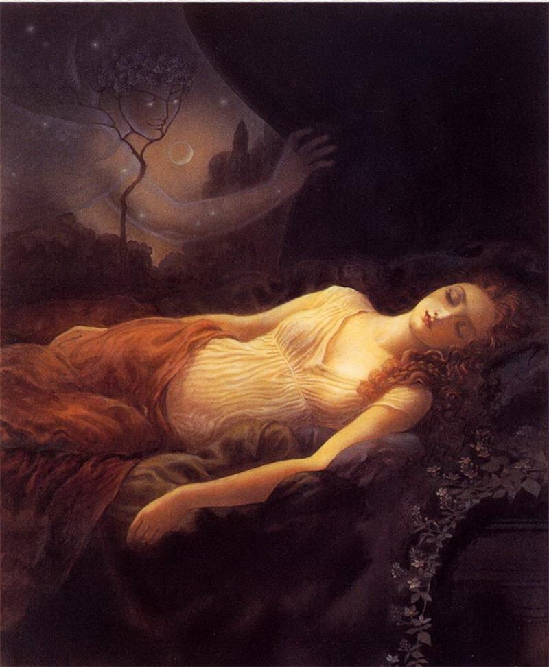 Psyché adormece onde fora deixada e Eros a observa, por Kinuko Y. Craft