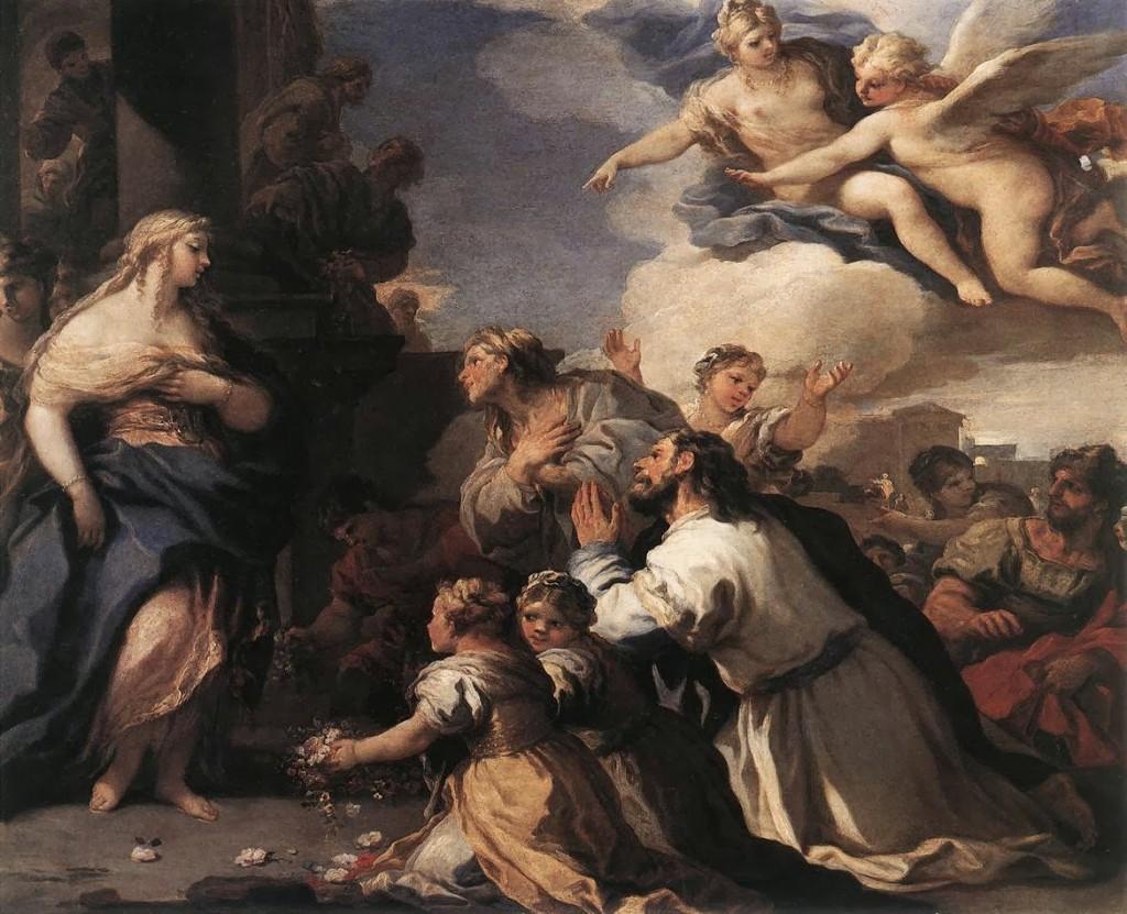 Psyché é reverenciada e observada por Afrodite (Vênus) lá do alto, que a aponta para Eros (Cupido), por Luca Giordano.
