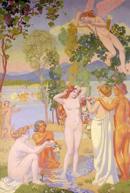 Psyché está cercada de pretendentes e é observada por Eros, por Maurice Denis.