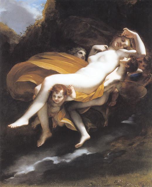 Ainda adormecida, Psyché nem sabe que está sendo levada pelos braços de seu apaixonado Eros, por Pierre-Paul Proudhon