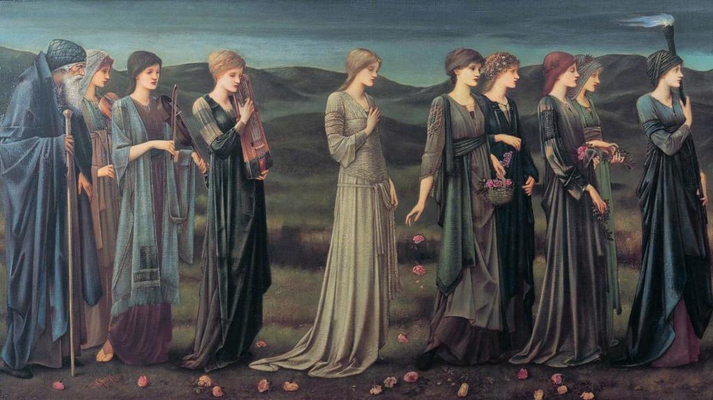 Seguida por seus pais, Psyché é acompanhada por suas irmãs para ser deixada num penhasco, por Edward Burne Jones.