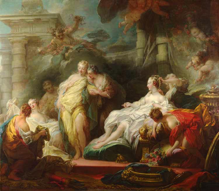 Embora contrariado, Eros permite que as irmãs de Psyché a visitem e elas ficam surpresas, encantadas e enciumadas com tamanha fartura e riqueza, por Jean-Honoré Fragonard
