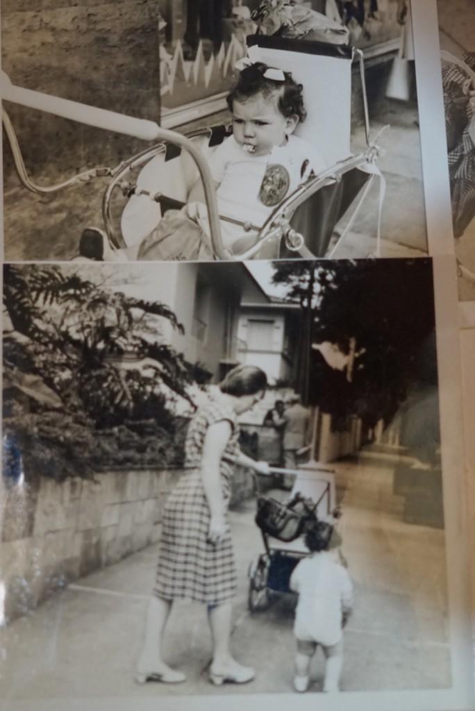 Com a Blanche! Ela foi governanta de minha mãe, nossa e também por um ano de cada um dos meus filhos! Olhem o carrinho!!