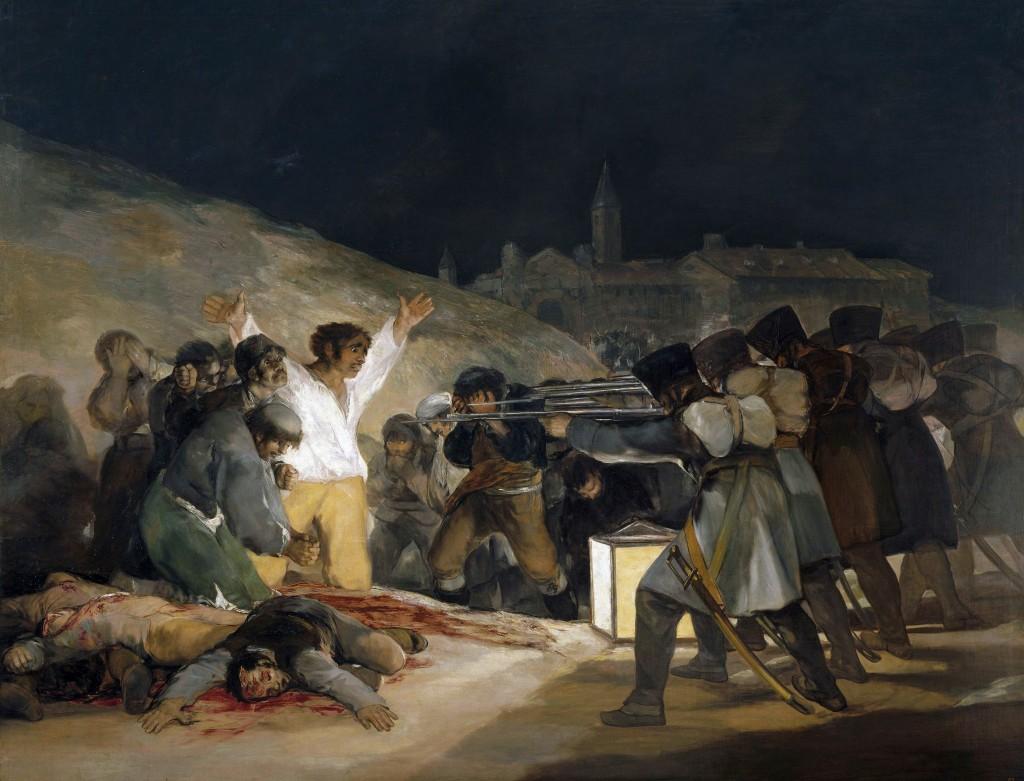 """""""Três de Maio de 1808"""", Museo del Prado, Madrid. A obra evoca a impiedosa execução de cidadãos madrilenos quando as tropas de Napoleão invadiram a Espanha. Explicita o horrendo espetáculo que, infelizmente, será encenado inúmeras vezes ao longo de toda a história moderna: """"Com sua sensibilidade e visão de gênio, Goya criou uma imagem que se tornou um terrível símbolo de nossa era""""."""