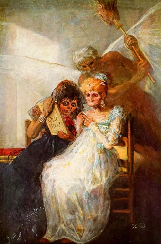 """""""As velhas"""" (1746). O Barroco é pesado, realista, quer a verdade, o dinamismo, a intensidade, a dramaticidade e para isso se vale da aplicação abundante de luzes e sombras. Goya """"Deformou exageradamente as fisionomias e os corpos dos que representam os vícios e torpezas humanas, dando-lhes aspectos bestiais""""."""