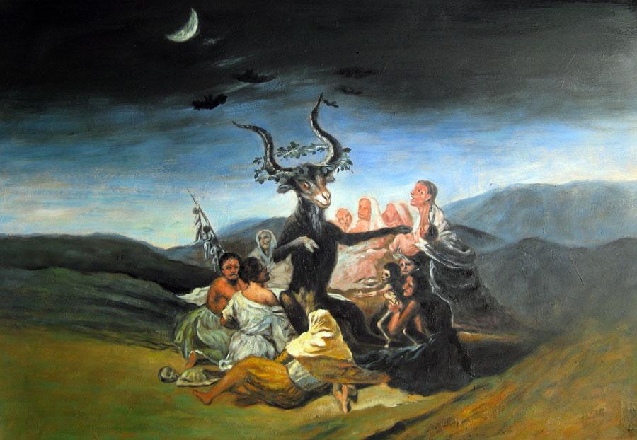 """""""El Aquelarre"""" ou """"Gran Cabrón"""": trata-se de uma das pinturas a óleo da coleção chamada """"Pinturas Negras"""", que decoraram os muros da casa de Goya (1819/23). O """"Sabbat das bruxas"""" (acima) encontra-se no Museo Lázaro Galdiano."""