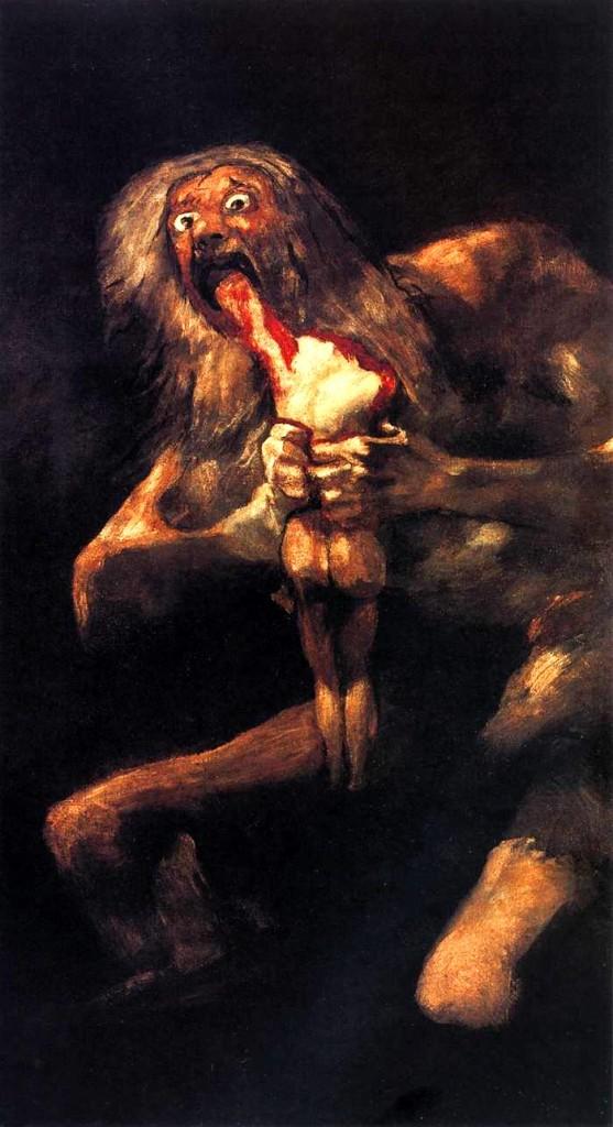 """""""Saturno devorando seus filhos"""" (1819/23), Museo del Prado, Madrid. Mas não é isso mesmo o que fazemos, amigos? Geramos os filhos que o Tempo devora? Nesse Goya: """"As luzes improvisadas e cortantes, com sombras que se perdem numa escuridão tenebrosa, dão um caráter de dramaticidade incomum às figuras""""."""