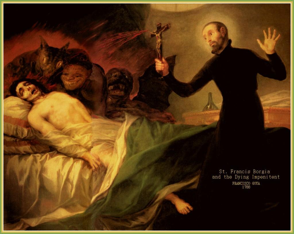 """""""St. Francis Borgia no leito de morte de um impenitente"""" (que não mostra arrependimento, cercado de demônios). O moribundo está cercado por demônios, da cruz jorra o sangue de Cristo, provavelmente para purificá-lo."""