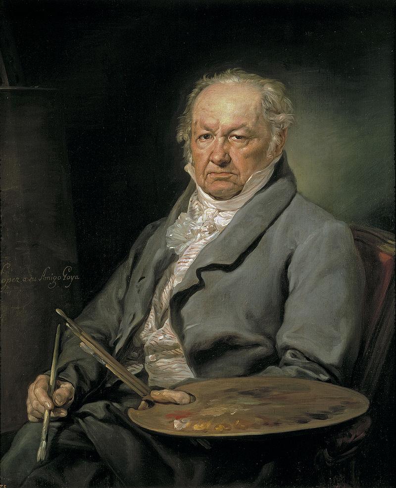 Francisco José de Goya y Lucientes (1746-1828), por seu amigo Vicente López Portaña (1826). A genialidade de um homem perturbado com a fealdade (feiura), a falta de bom senso, a violência e a insanidade humana.