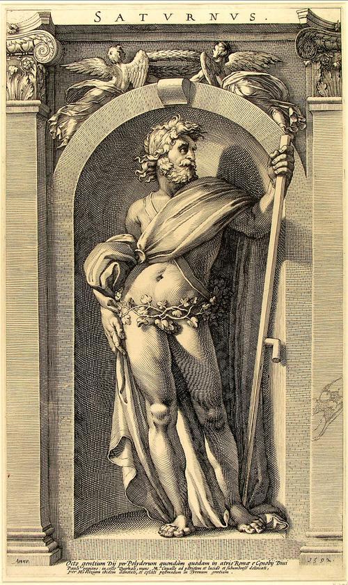 Saturno, gravura do século XVI de Polidoro da Caravaggio. Eis o filho do Céu (Ouranós/Urano) e da Terra (Gaia/Rhea): o Tempo (Chronos/Saturno).