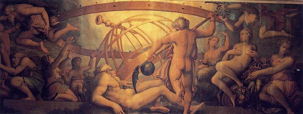 """: """"A Mutilação de Urano por Saturno"""", de Giorgio Vasari e Gherardi Christofano (século XVI). Palazzo Vecchio, Florença."""