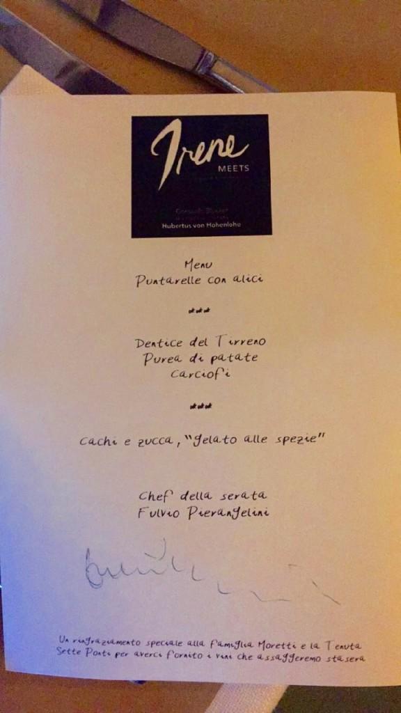 O menu da noite